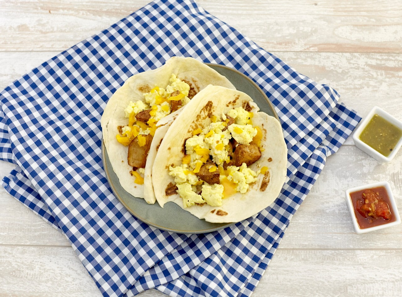 Jack's Vegetarian Breakfast Taco with Eggs and Potato by Chef Jack Timmons