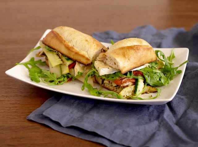 Roasted Veggie Baguette Sandwich with Side Salad by Chef Lilly Gjekmarkaj