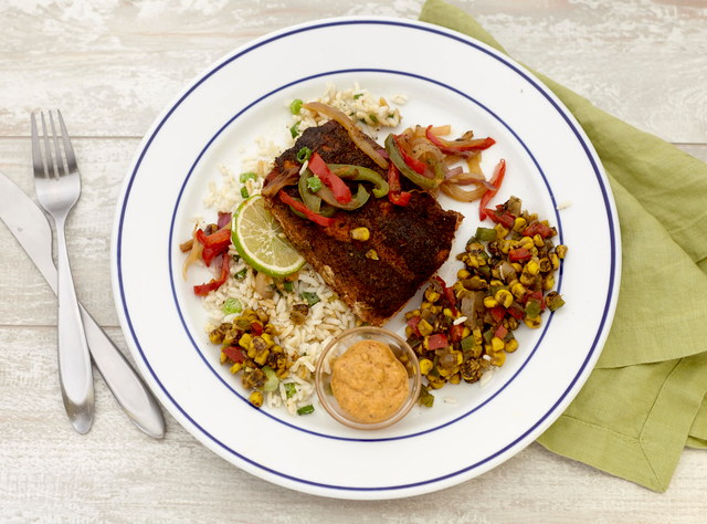 Blackened Salmon with Creole Peppers by Chef Jenn Strange