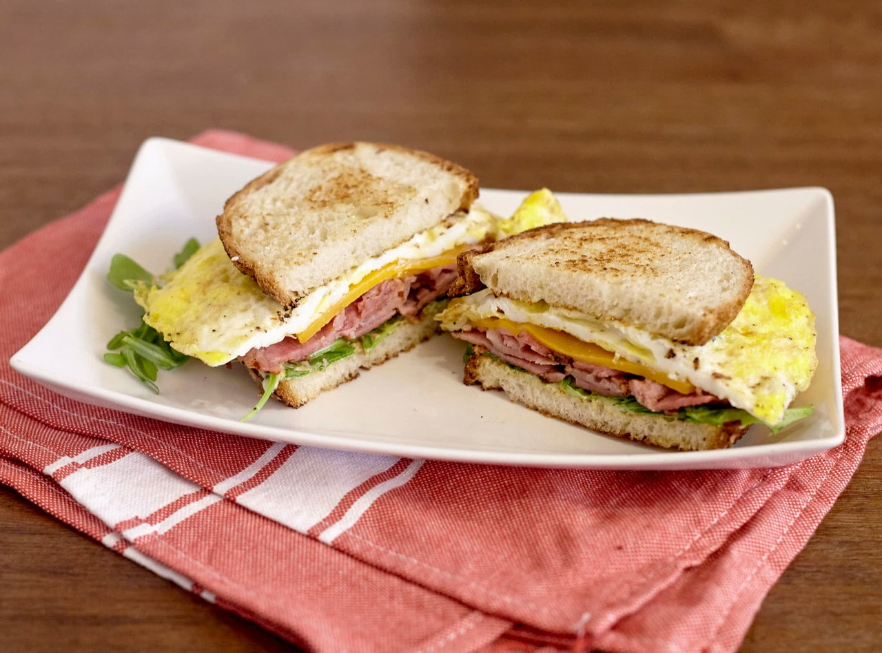 Gluten Free Ham, Cheddar and Egg Breakfast Sandwich by Chef Lilly Gjekmarkaj
