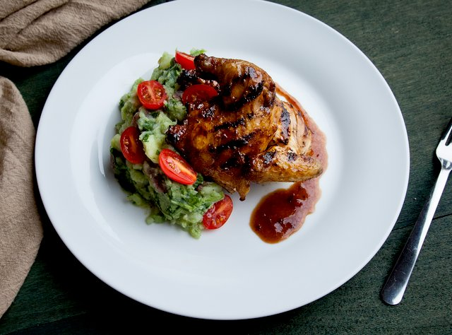 Honey-Balsamic Cornish Hen with Spinach Mashed Potatoes by Chef Prakash Niroula