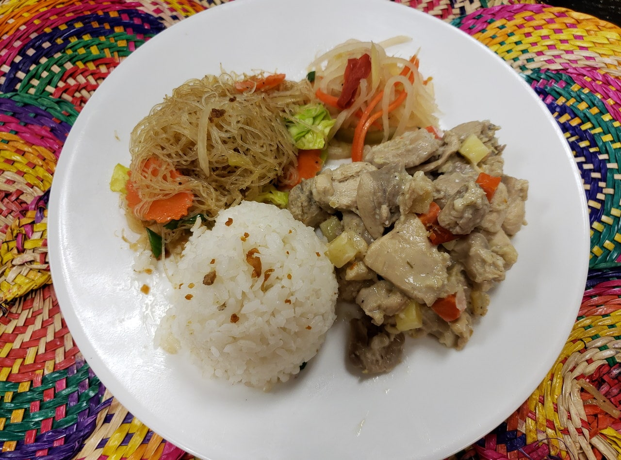 White Chicken Adobo Plate by Chef Rosario Carver