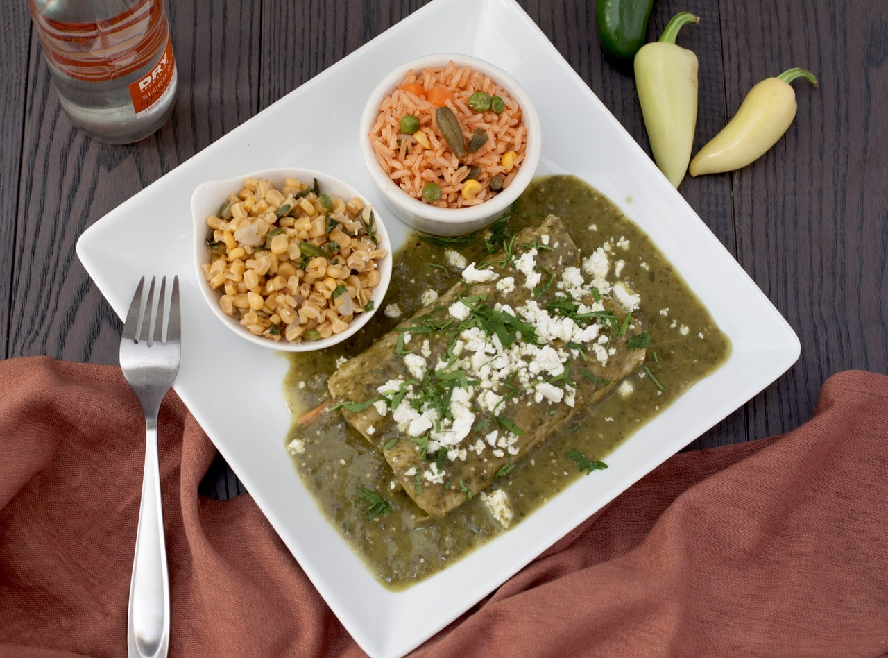 Vegan Enchiladas Verde Bar by Chefs Frankie & Edgar