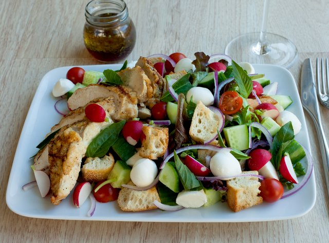 Panzanella with Grilled Chicken Breast by Chef Aaron Strauss
