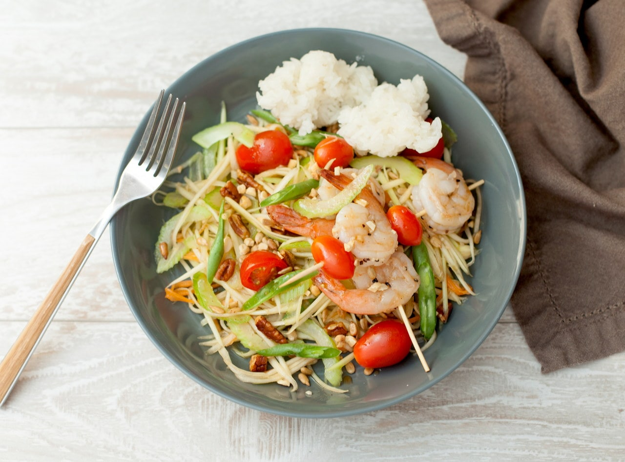 Green Papaya Salad with Shrimp by Chef Tanya Jirapol