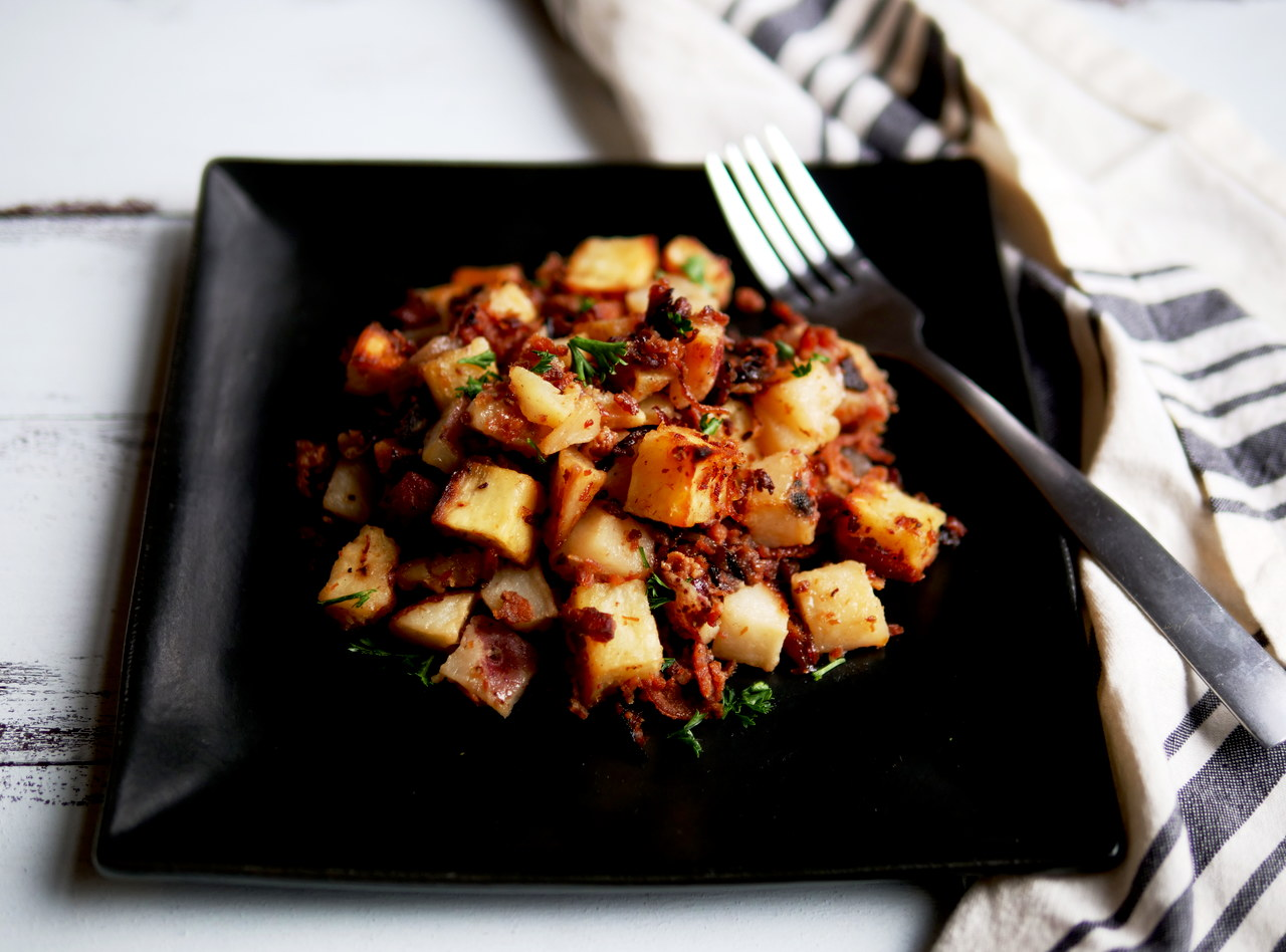 Extra Bacon and Maple Sweet & Red Potato Hash by Chef Jesse & Ripe Catering Team