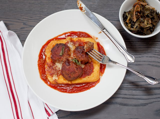 Award-winning Meatballs and Polenta by Chef Ron Anderson