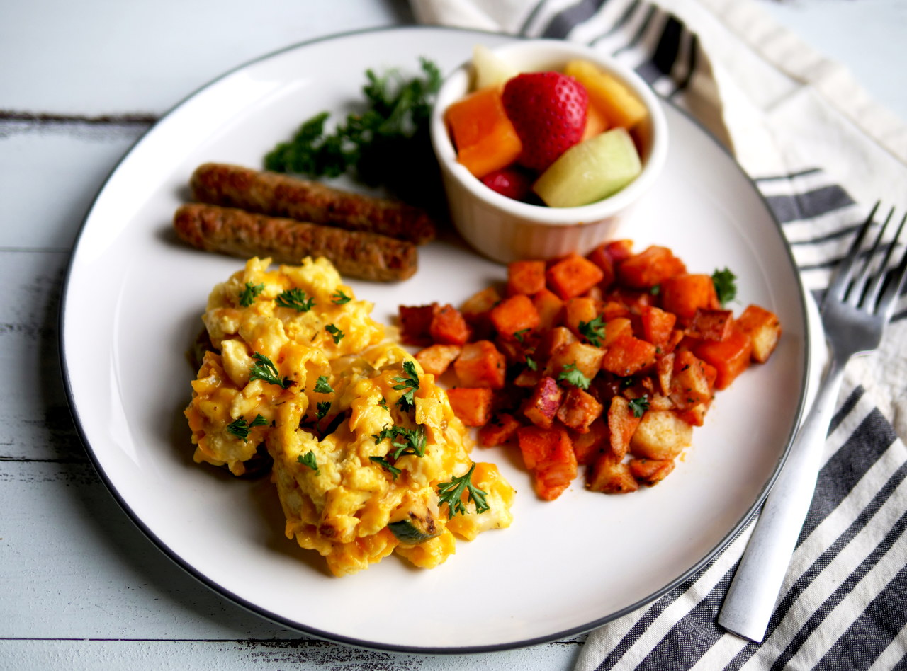 Cheesy Farmer's Scramble Breakfast with Chicken Sausage by Chef Jesse & Ripe Catering Team