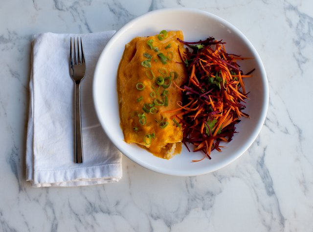 Chicken Arugula Enchiladas w/ Spicy Pumpkin Sauce by Chef Katie Peterson