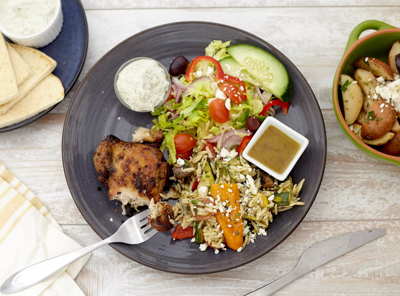 Greek Yogurt Marinated Chicken with Rotini Pasta Salad by Chef Jenn Strange