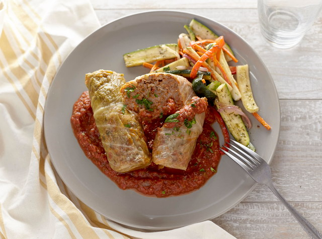 Beef Cabbage Rolls with Roasted Tomato Sauce by Chef Jenn Strange