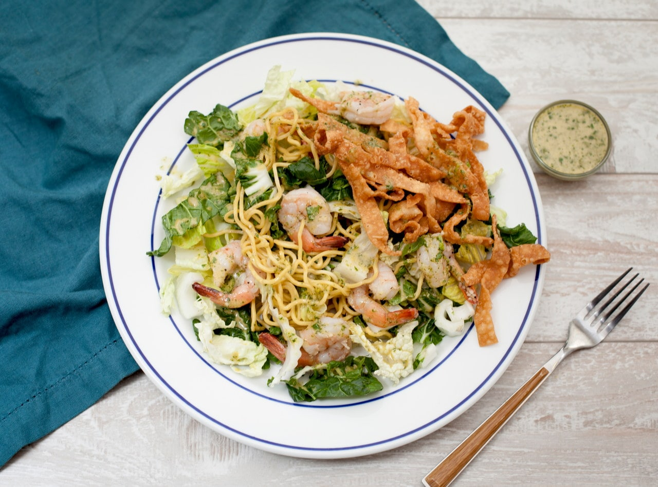 Thai Noodle Salad with Chicken and Crispy Noodles by Chef Tanya Jirapol