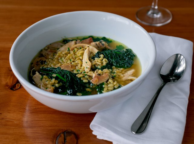 Roasted Chicken Barley Soup with Kale by Chef Ethan Stowell