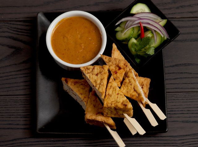 Tofu Satay with Peanut Sauce by Chef Tanya Jirapol