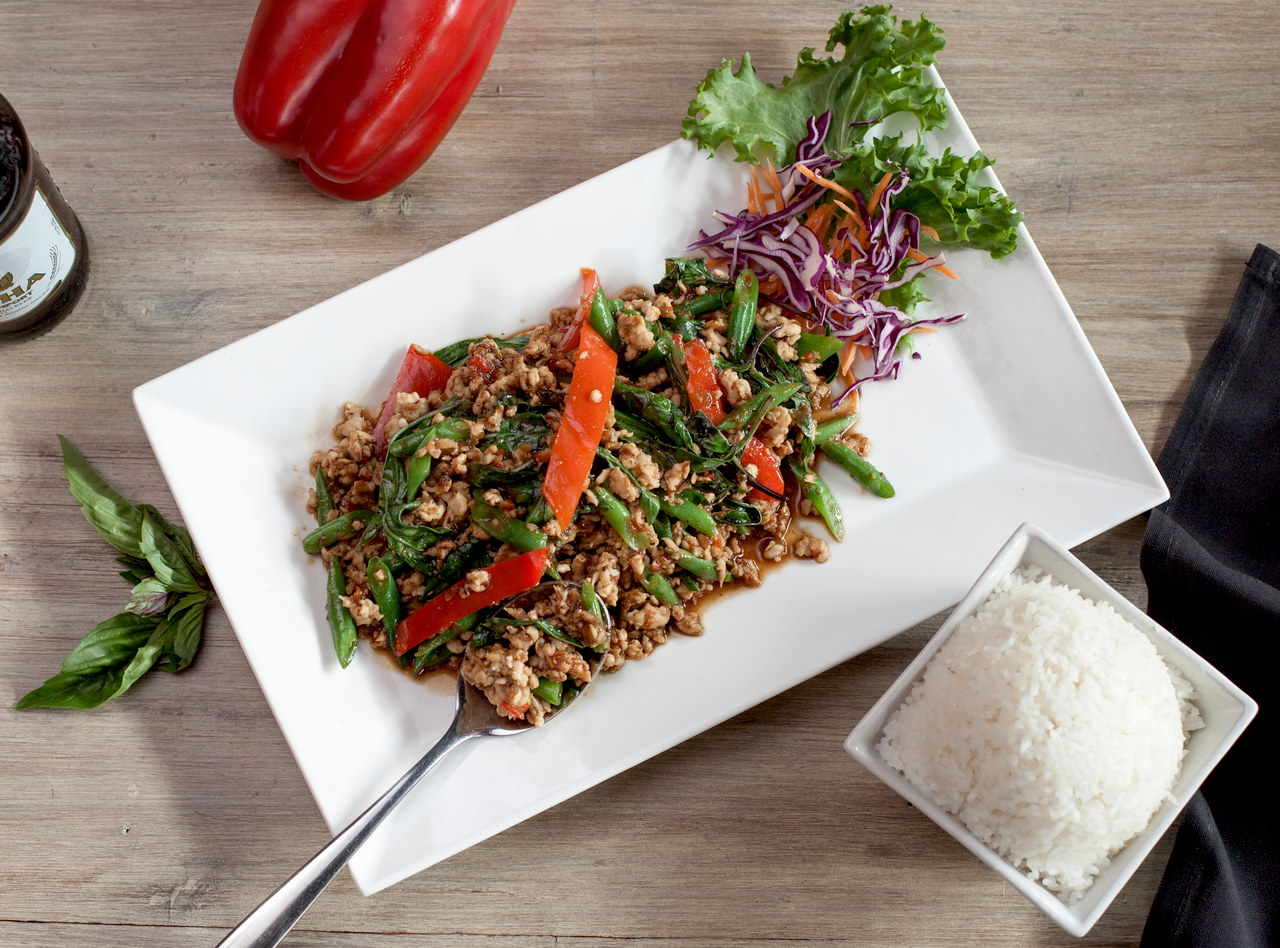 Gluten Free Thai Basil Chicken Boxed Lunch by Chef Pik Kookarinrat