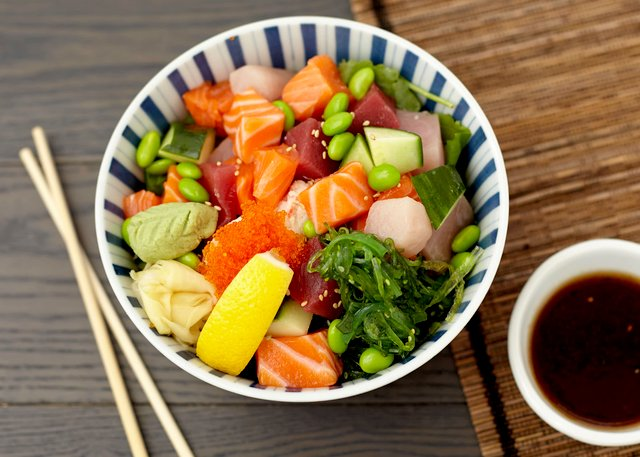 Sashimi Bowl with Hawaiian Vinaigrette by Chef Hideaki Taneda