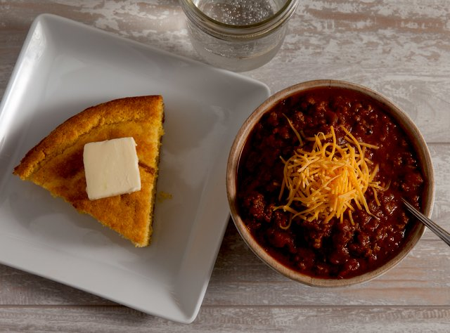 Texas Beef Chili with Jalapeño Cornbread & Salad by Chef Katie Cox